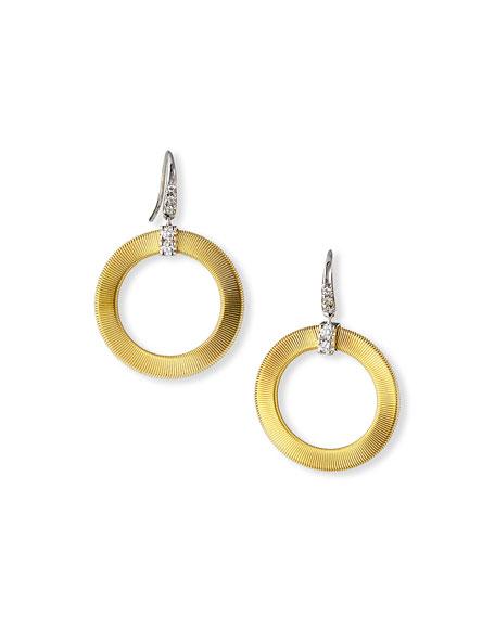Marco Bicego 18K Masai Circle Hook Earrings with Diamonds
