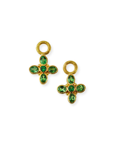 19k Green Garnet Earring Pendants