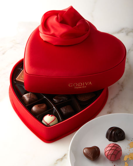 Godiva Small Valentine's Satin Heart, 15 Pieces