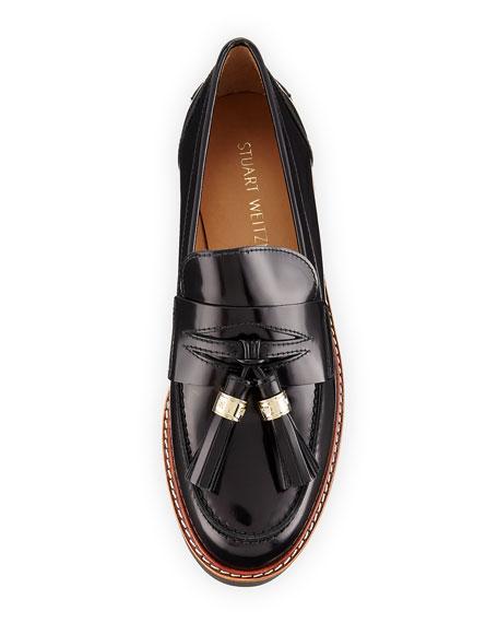 Manila Leather Tassel Loafer, Jet Black