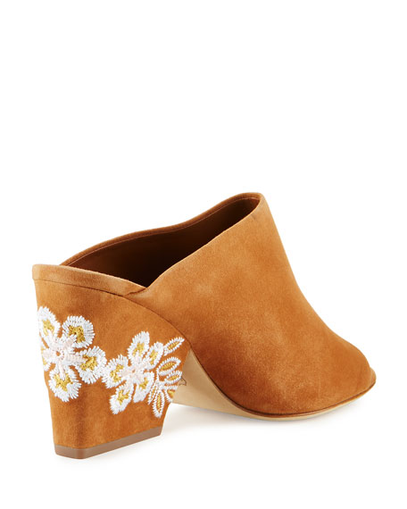 Embroidered Suede 95mm Mule
