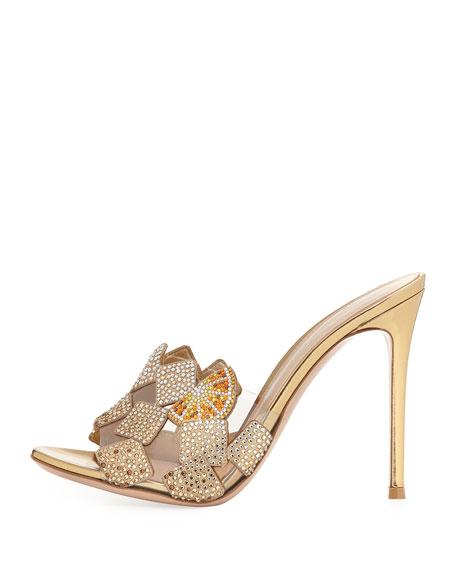 Crystal 105mm Slide Sandal, Gold