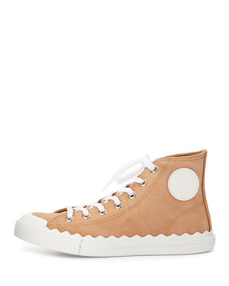 Scalloped Suede High-Top Sneakers