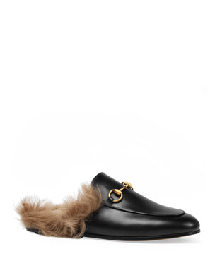 b4134f5d9fd3 Lina Leather Flat Pool Slide Sandals.  148NOW  111 · Gucci Princetown Fur  Lined Mule