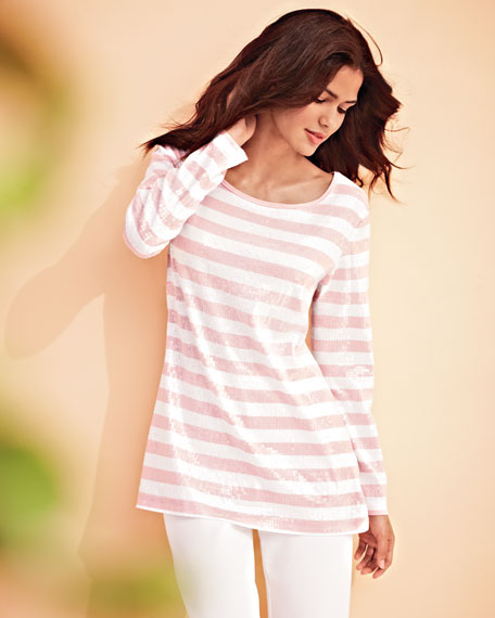 Sequined Striped Tunic