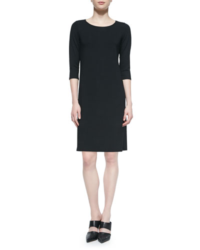 Eileen Fisher 3/4-Sleeve Jersey Dress, Beaded Silk Cord