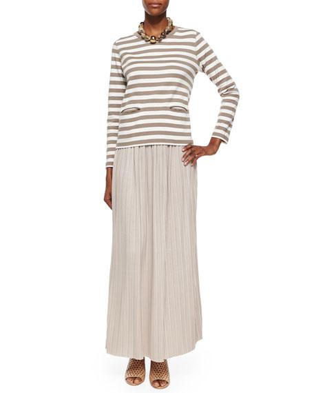 Joan Vass Plus Size Long-Sleeve Striped Top
