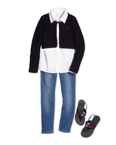 Stretch-Knit Bolero  Poplin Shirt  Terry-Lined Denim Jeans & Poppy Junior Leather Sandal