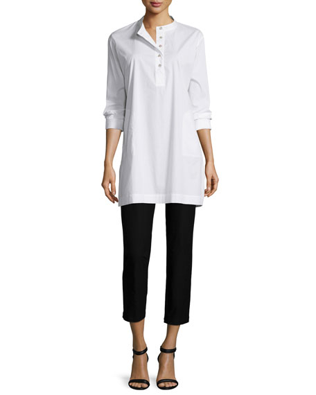 Eileen Fisher Stretch Easy Big Shirt, White, Plus