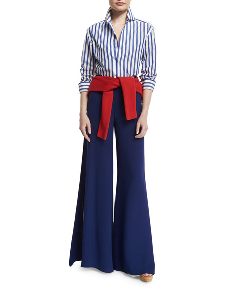 Ralph Lauren French Capri Striped Dress Shirt, White/Classic