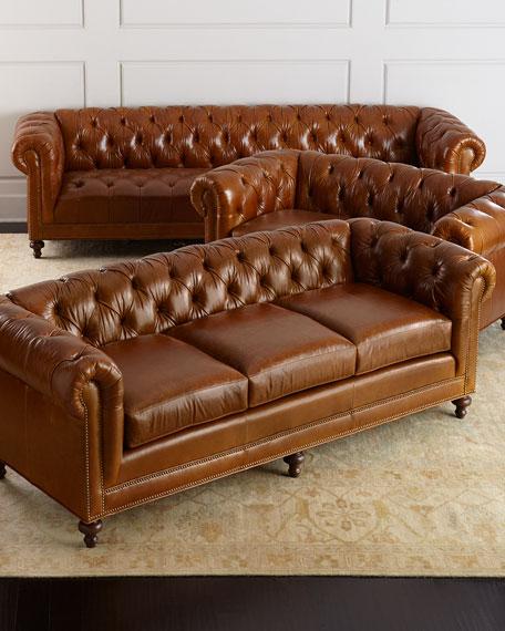"Massoud Davidson 94"" Three-Cushion Chesterfield Sofa"