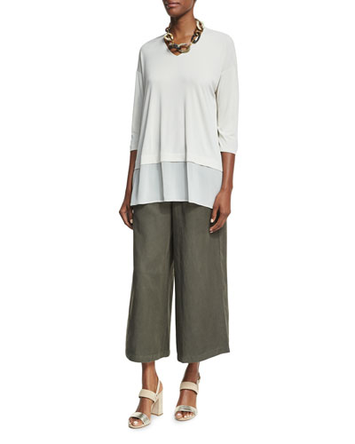 3/4-Sleeve Silk Jersey Easy Top & Elastic-Waist Wide Cropped Pants