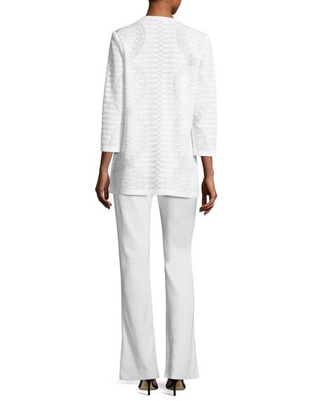 Textured Stripe-Knit Long Jacket