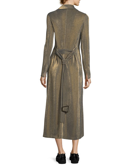 Metallic Jersey Bustle A-Line Skirt, Gold
