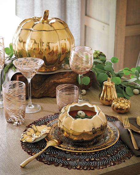 Neiman Marcus Pumpkin Soup Bowl with Lid, Set of 4
