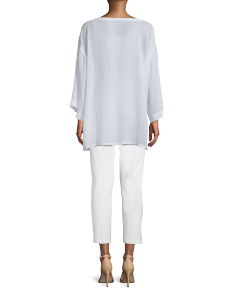 Eileen Fisher Side-Tie Sheer Silk Kimono Top