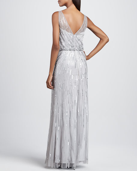 Beaded Illusion-Neck Gown