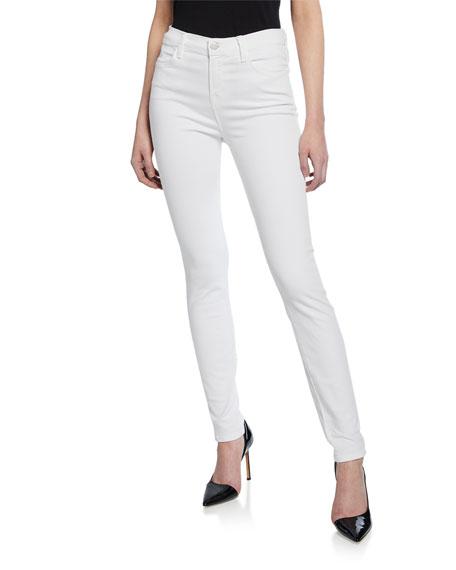 J Brand Maria High-Rise Skinny Jeans, Blanc