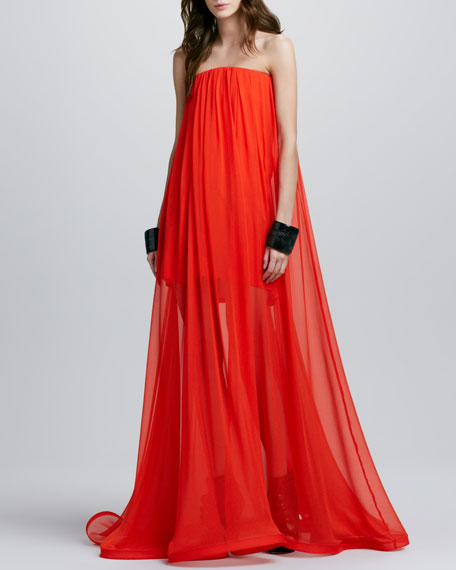 Miranda Strapless Sheer-Skirt Maxi Dress, Red Orange