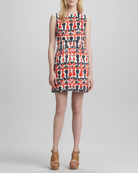Printed Sleeveless Shift Dress