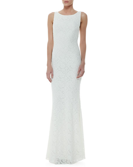 Alice Olivia Sachi Open Back Lace Gown Ivory