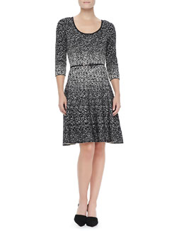 Carmen by Carmen Marc Valvo Metallic Two-Tone Fit & Flare Dress