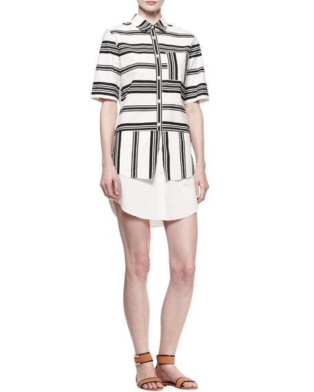 Layered Striped Poplin Shirtdress