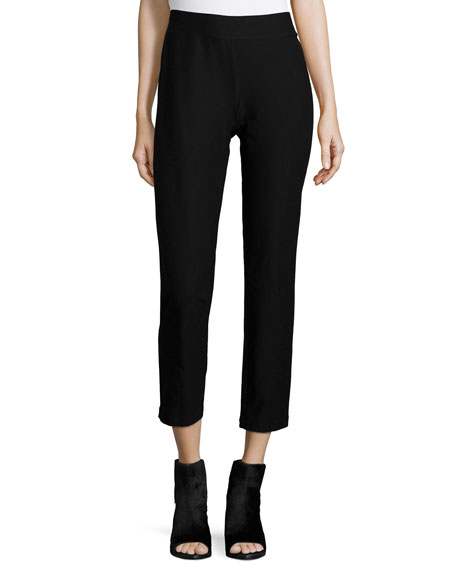 Eileen Fisher Washable Stretch-Crepe Ankle Pants, Black, Petite