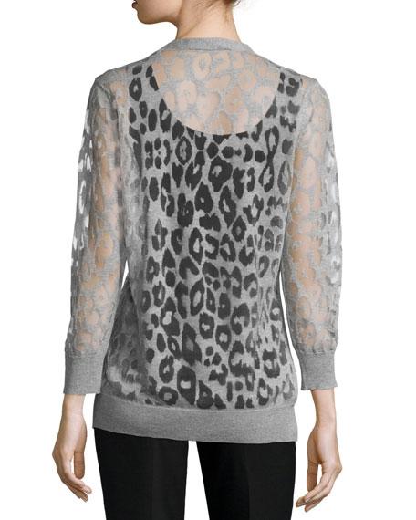 Button-Down Leopard Burnout Cardigan