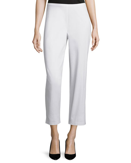 Eileen Fisher Organic Stretch Twill Slim Ankle Pants, White, Petite