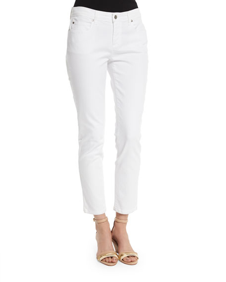 Eileen Fisher Organic Skinny Ankle Jeans, White, Petite