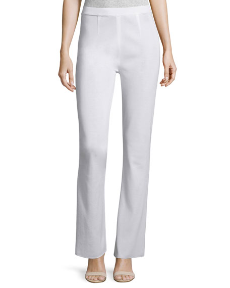 Misook Boot-Cut Knit Pants, White