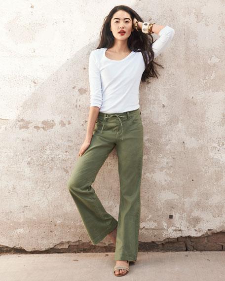 Lindsey Wide-Leg Linen Pants
