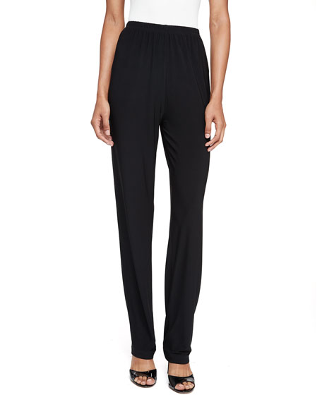 Caroline Rose Stretch-Knit Straight-Leg Pants, Black, Plus Size