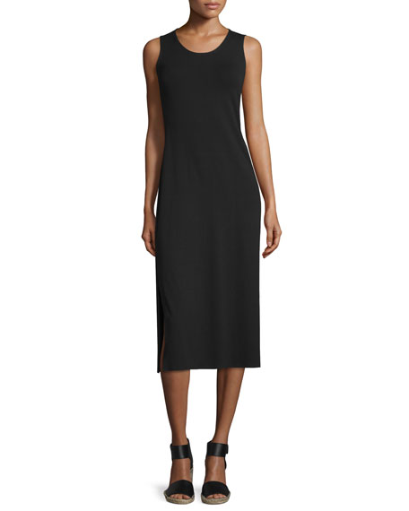 Eileen Fisher Jersey Midi Dress, Black, Petite