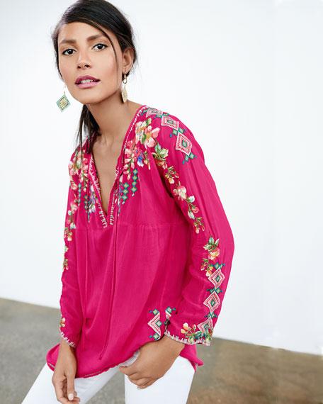 Vanessa Georgette Embroidered Tunic