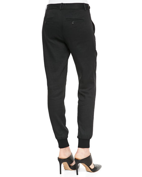 Button-Front Linen Jogger Pants