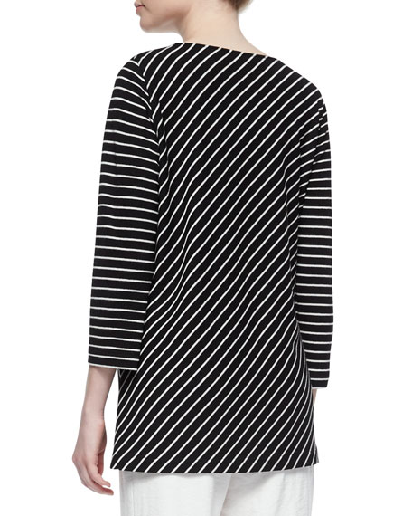 Bias-Striped Knit Tunic, Plus Size