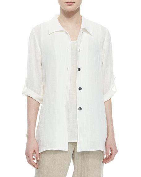 Caroline Rose3/4-Sleeve Crinkled Linen Shirt