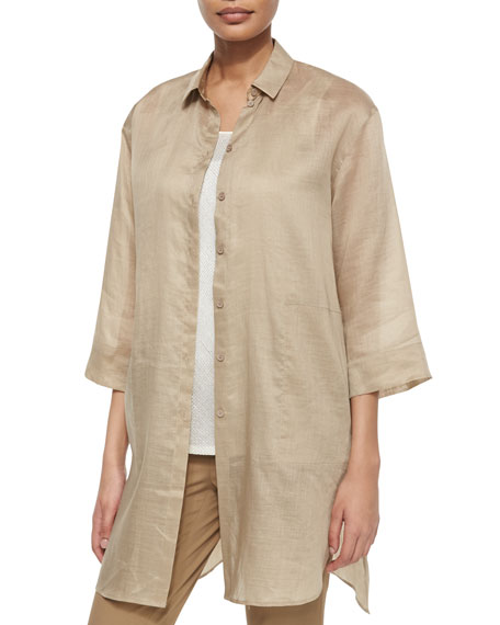 Lafayette 148 New York Melody Long Shirtdress Blouse