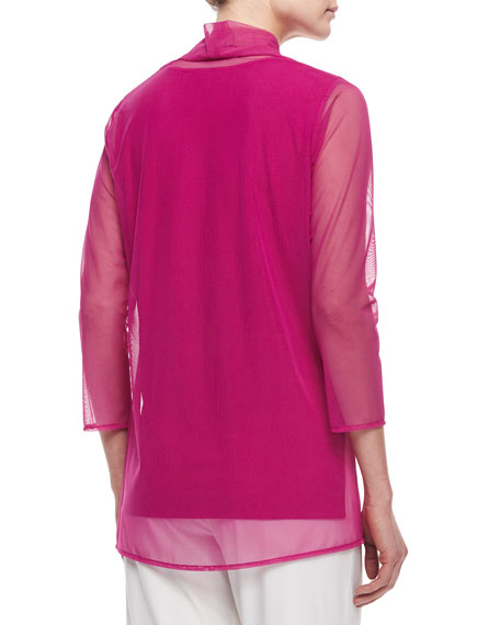 3/4-Sleeve Illusion Cardigan, Plus Size