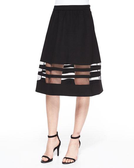 Carmen by Carmen Marc Valvo Ponte Full Skirt W/ Mesh Panels