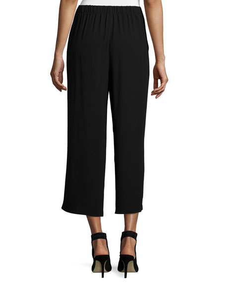 Pleated Wide-Leg Silk Pants, Black