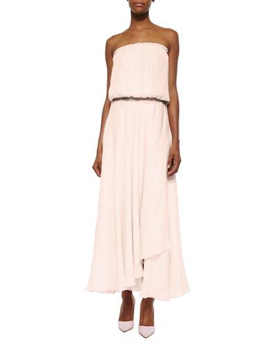 Strapless Faux-Wrap Silk Maxi Dress