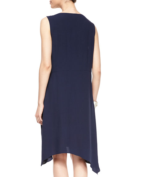 Sleeveless Silk Asymmetric Dress