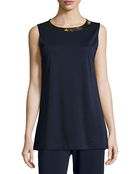 Joan Vass Sequined-Neck Long Interlock Tank