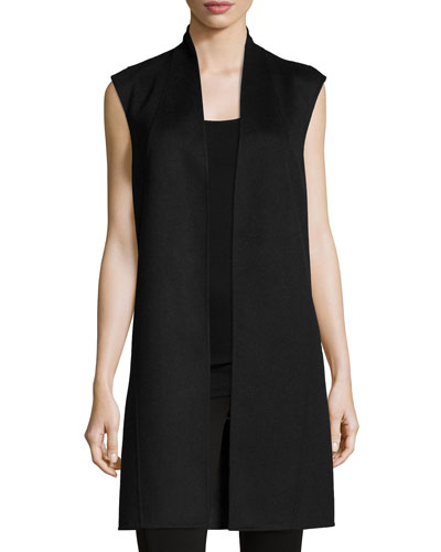 Cashmere Double-Face Reversible Long Vest