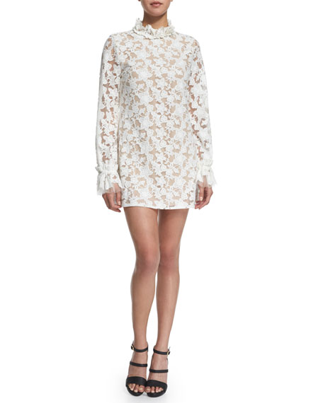Alexis Alanis Long-Sleeve Floral-Lace Mini Dress, White