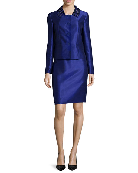 Albert Nipon Beaded-Collar Skirt Suit