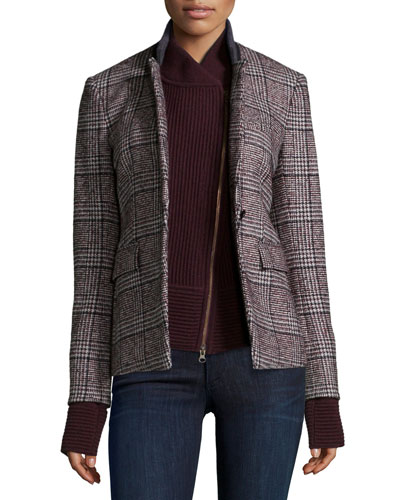 Cutaway Stand-Collar Jacket with Upstate Knit Dickey, Plaid/Bordeaux
